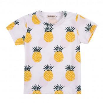 Kid's/Baby's White Cotton Top Pineapple Printed Tee