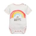 Baby's Cotton Happy Rainbow Printed Bodysuit in White