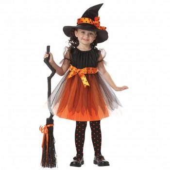 Girl's Halloween Costume Wicked Witch Dress, Hat & Belt Set (3pc-set)