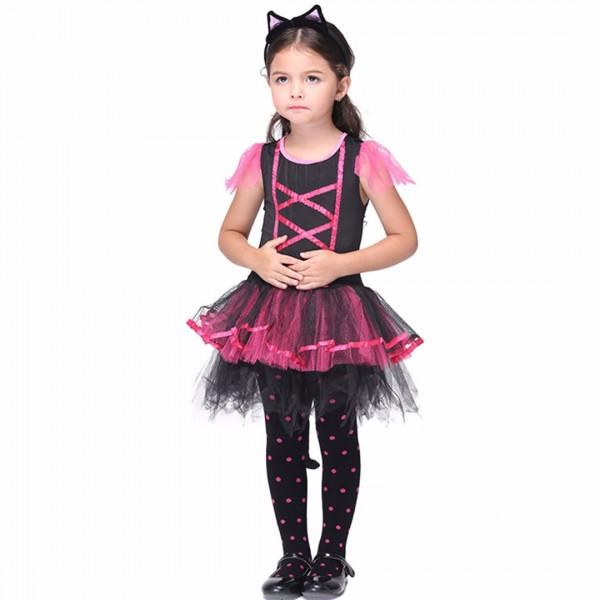 Girlu0027s Halloween Costume Cute Cat Princess Dress u0026 Headband Set in Black ...  sc 1 st  PatPat & Girlu0027s Halloween Costume Cute Cat Princess Dress u0026 Headband Set in ...