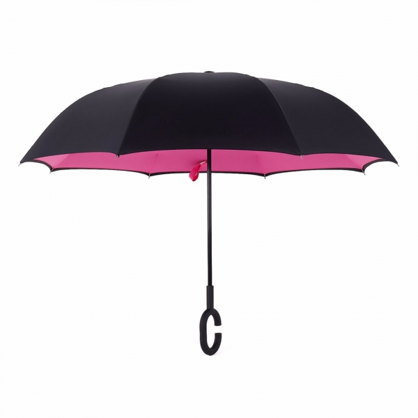Double Layer Hands Free Reversible Umbrella In Hot Pink
