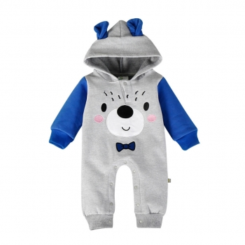 Infant/Toddler's Cute Bear Printed Hooded Jumpsuit in Grey (Unisex)