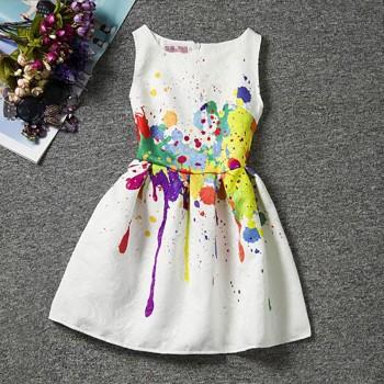 artsy paint splash statement sleeveless dress in white for girls