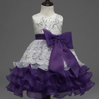 Sequin-Detailed Bowknot Ruffled Party Dress Purple Princess Dress for Girls