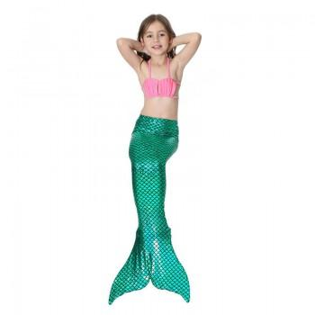 Girl's Mermaid Halter Top, Shorts & Tail Swimsuit Set (3pc-set)