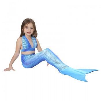 Girl's Mermaid V-Neck Top, Bottom & Tail Swimsuit Set (3pc-set)