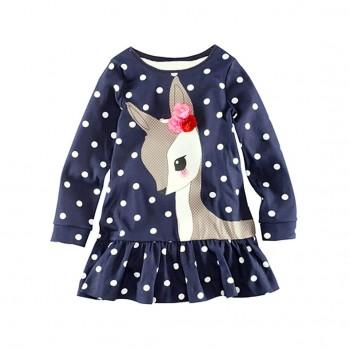 Toddler & Girl's Flower-Accent Deer Patterned Falbala Dress