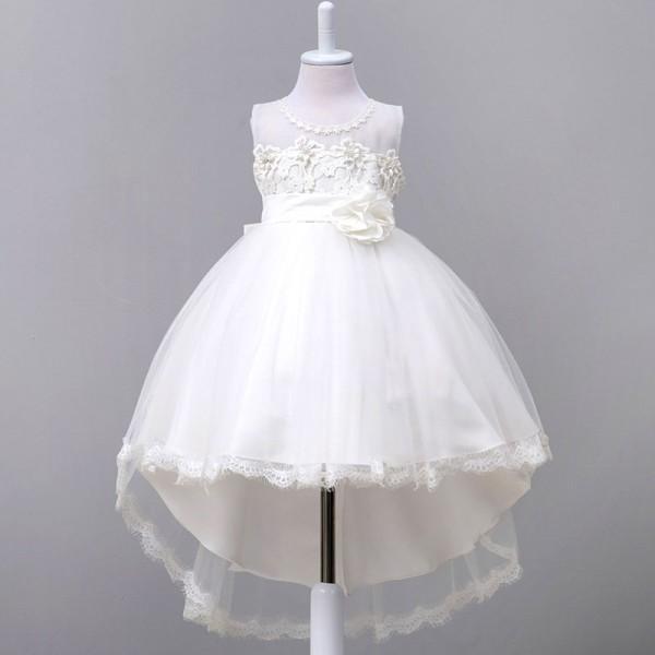 Sleeveless Trailing Formal Dress With Flower On Waist For Girls