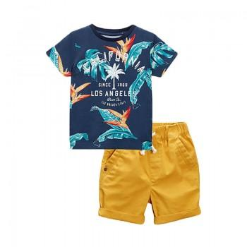 Floral Printed Short Sleeve T-Shirt in Navy & Yellow Shorts Set for Toddler Boys