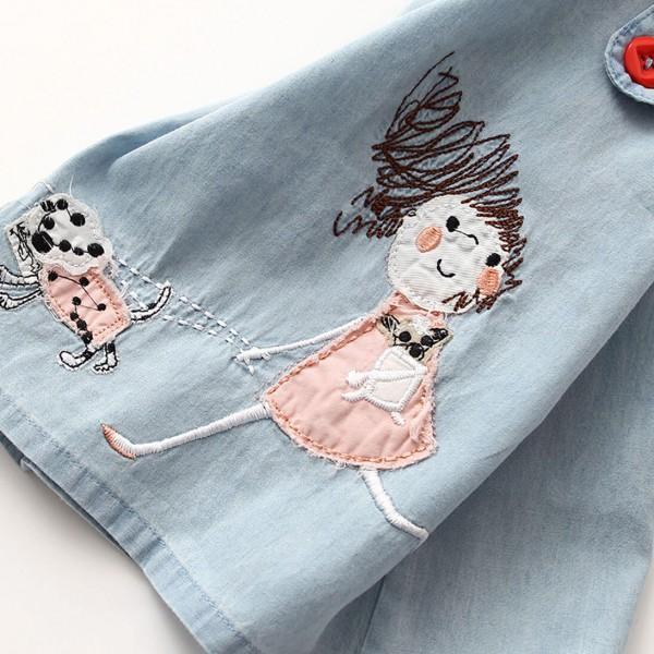 Little Girl Appliqued Blue Denim Sleeveless Dress for Toddler Girls