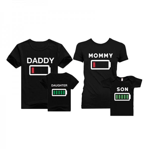 Short-sleeve Battery Letters Printed Black Tee Family Look