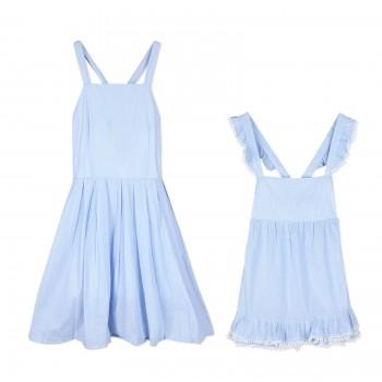 Mommy and Me Sleeveless Light Blue Ruffled Dress
