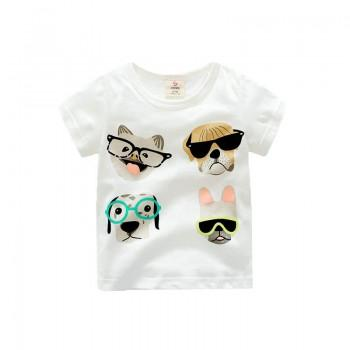 Adorable Dogs Emoji Printed Short-Sleeve Tee for Babies and Toddlers