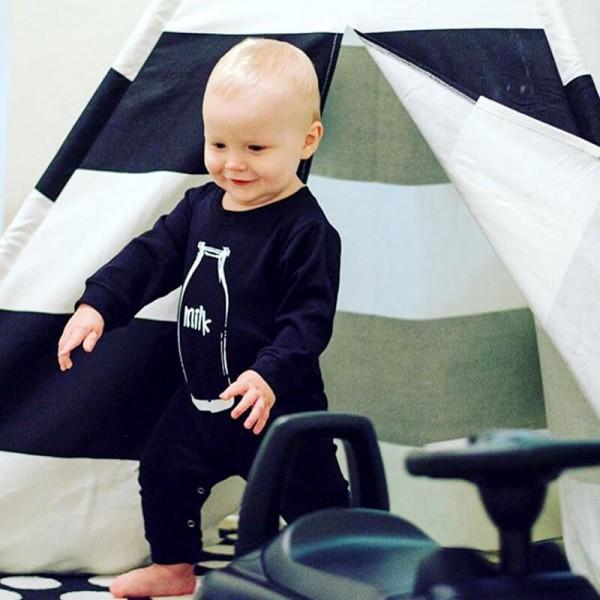 Stylish Bottle Printed Long-Sleeve Jumpsuit for Toddler Boys