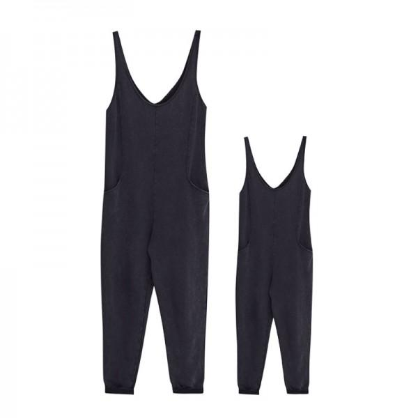 Mommy and Me Solid Black Jumpsuit with Pockets