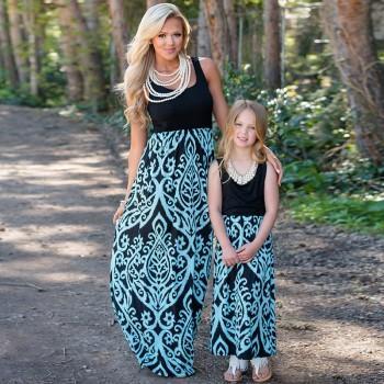 Elegant Paisley High Waist Mom and Me Sleeveless Maxi Dress
