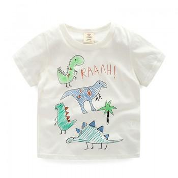 Dino Party Print Short-sleeve White Tee for Boys