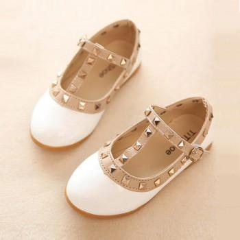 Elegant Rivet Studded Princess Shoes for Girls
