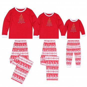 2-piece Gold Letters Printed and Festival Pattern Family Matching Set
