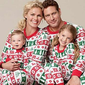 Cheerful Festival Patterned Long Sleeve 2-piece Family Matching Set