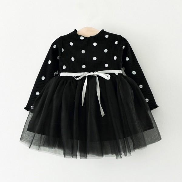 Polka Dot Bodice Long-sleeve Tutu Dress for Baby and Toddler Girls