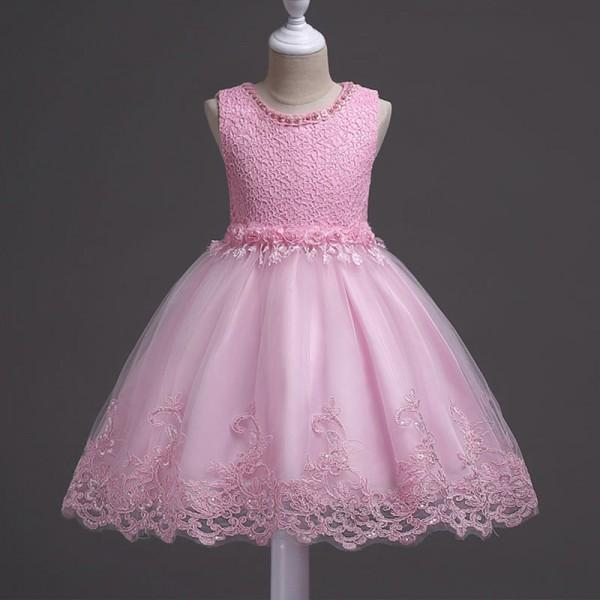Elegant Sleeveless Tulle Princess Dress with Back Bowknot Detail
