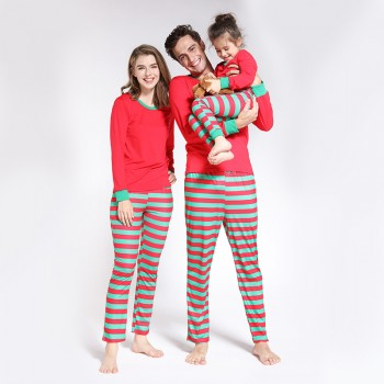 Red and Green Contrast Christmas Pajamas Set Family Matching