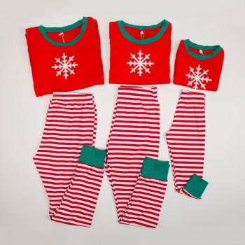 Christmas Family Matching Pajamas Snow Print Top and Stripes Pants Set
