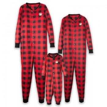Bear Cheeks Print Red Plaid One Piece Family Matching Pajamas