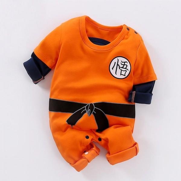 Long-sleeve Kungfu Style Orange One Piece for Baby