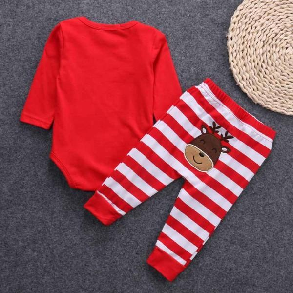Newborn and Baby's MY FIRST CHRISTMAS Long-sleeve Bodysuit and Striped Pants Set in Red