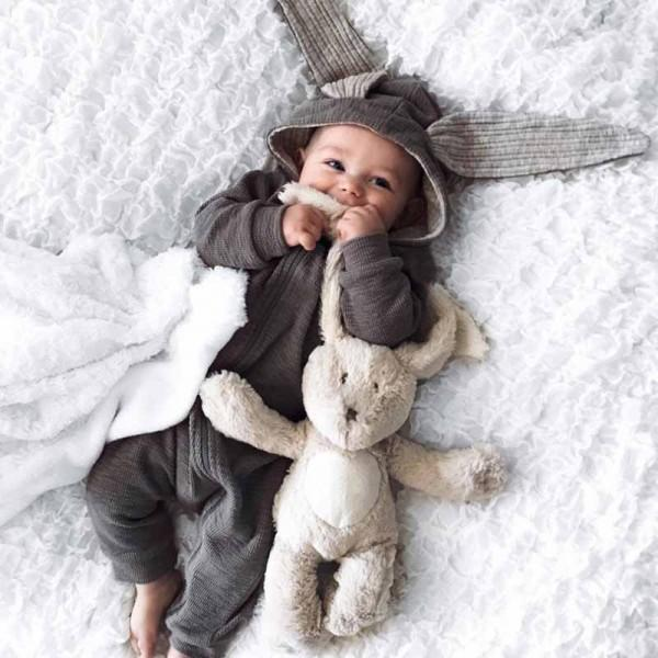 Rabbit Ears Grey Long-sleeve Jumpsuit for Baby