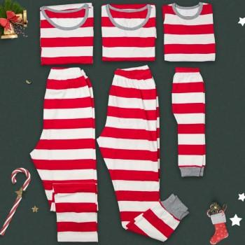 Red Stripes Long-sleeve Top and Pants Set Family Matching Pajamas