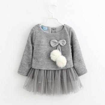 Long-sleeve Pompom Decor Tulle Dress for Little Girls