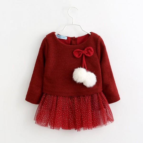 Long-sleeve Pompom Decor Tulle Dress for Little Girls