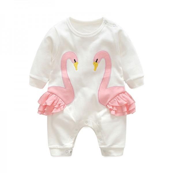 Lovely Swan Ruffled Long Sleeve Jumpsuit for Baby Girls