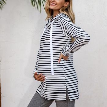 Maternity Half a turtleneck Stripes Plain Black/White Hoodie