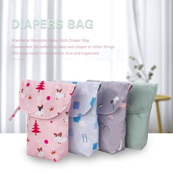 Cartoon Print Floral Christmas Waterproof Hanging Cloth Diaper Wet/Dry Bags