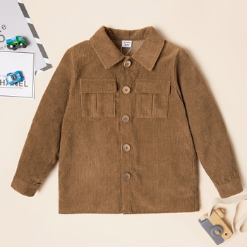Fashionable Corduroy Pocket Lapel Collar Jacket Coat