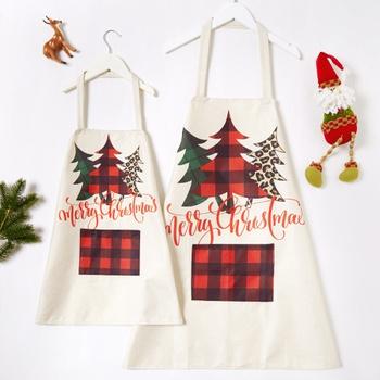 Christmas Tree Print Linen Aprons for Family