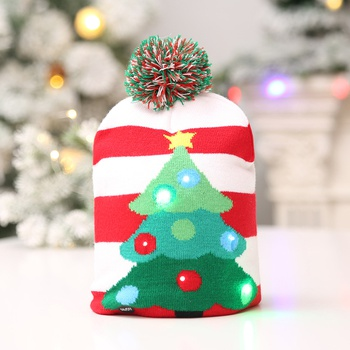 Christmas LED Hat Sweater Knitted Beanie Christmas Light New Year Decorations Gift