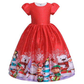 Beautiful Christmas Santa Snowman Print Short-sleeve Party Dress