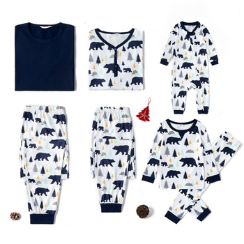 Christmas Tree and Bear Print Family Matching Pajamas Set