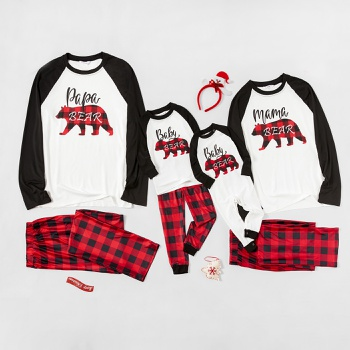 Plaid Bear Patterned Family Matching Pajamas Sets