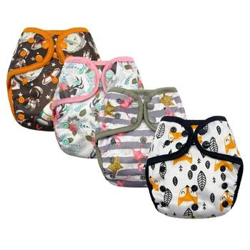 Cartoon Animal Baby Washable Adjustable Cloth Diaper Waterproof Breathable Eco-friendly Diaper