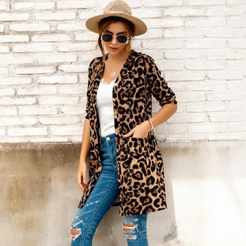 Avant-garde Leopard Brown medium length Coats