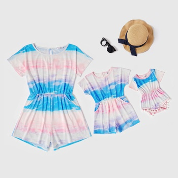 Mommy and Me Tie dye Short Sleeve Rompers