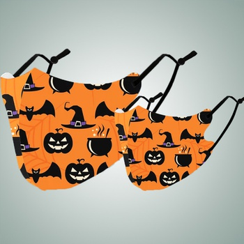Halloween Bat Pumpkin Print Protective Anti Dust Breathable Family Mask (Washable and Reusable)