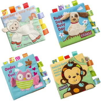 Adorable Animal Monkey Dog Sheep Owl Cloth Baby Book Intelligence Development Educational Toy Soft Cloth Learning Cognize Books