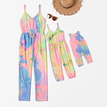 Colorful Tie Dye Sling Jumpsuits for Mommy and Me